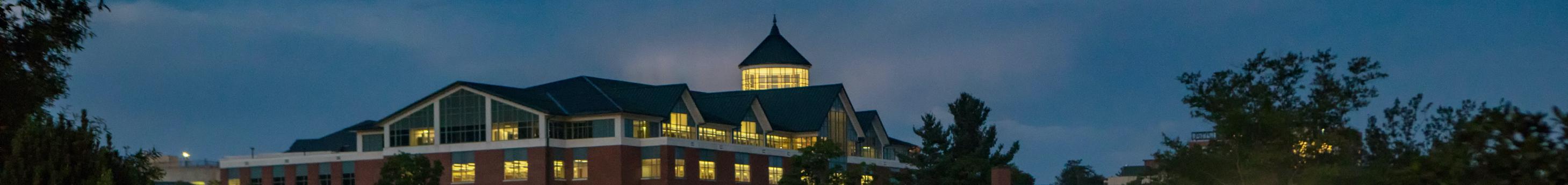 Belk Library at night