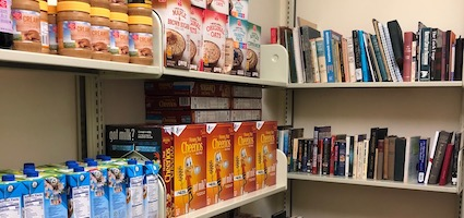 food pantry shelves - free food and books!