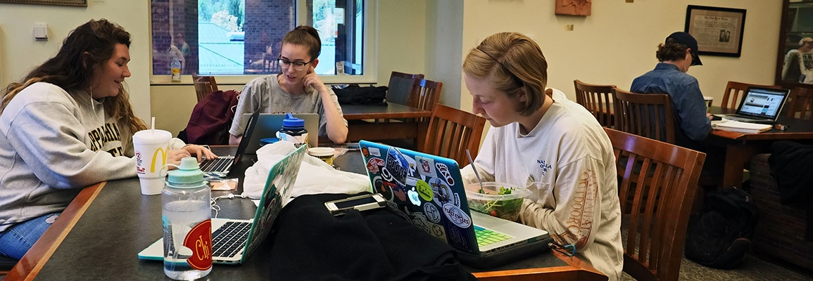 Students studying around a table